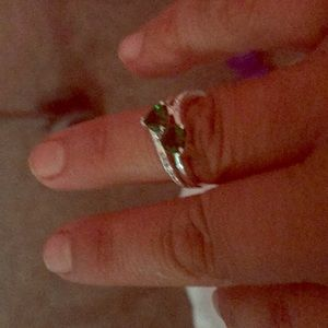 Jewelry - New silver ring with two little hearts in green co